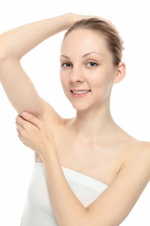 underarm: Young Caucasian woman suppress the side by hand