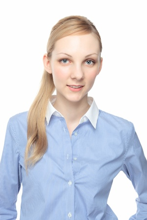 Beautiful smiling young Caucasian woman white background photo