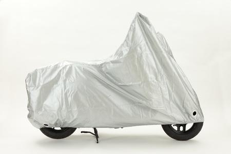自転車カバー シルバー ホワイト バック グラウンド側ビュー 写真素材