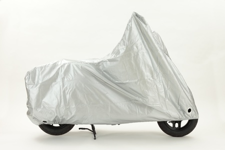 Bike cover silver with white background Side view Stock Photo - 15552163