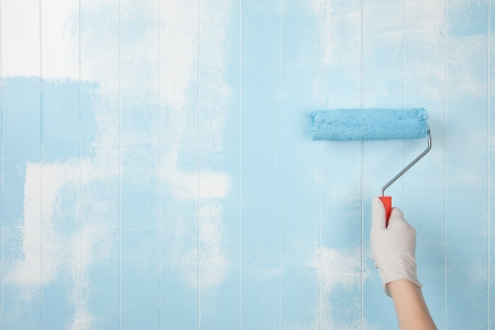 Painting a wall in blue