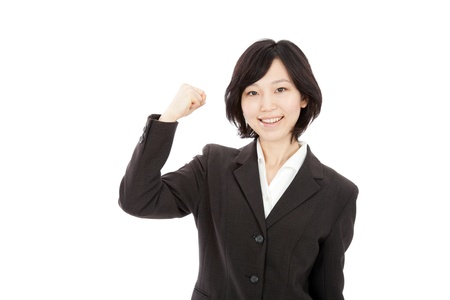 hold up: Young Japanese businesswoman hold up fists