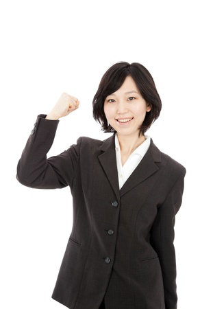 Young Japanese businesswoman hold up fists Stock Photo - 17992638