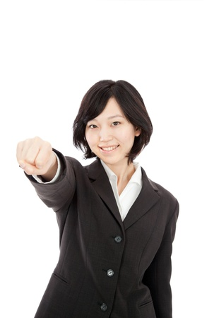 Young Japanese businessman punching in white background Stock Photo - 17992634