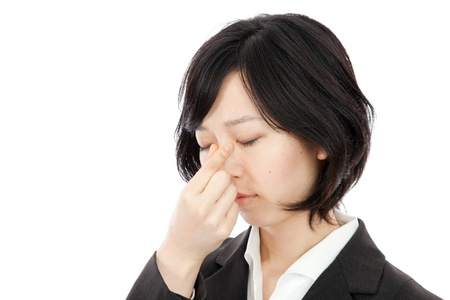 Businessman tired young women in Japan hold the tears Stock Photo - 17992639