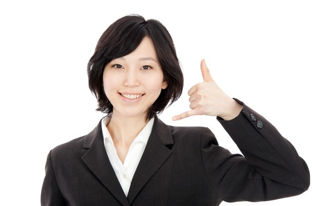 Japanese businessman young women to imitate hand-Phone in white background photo