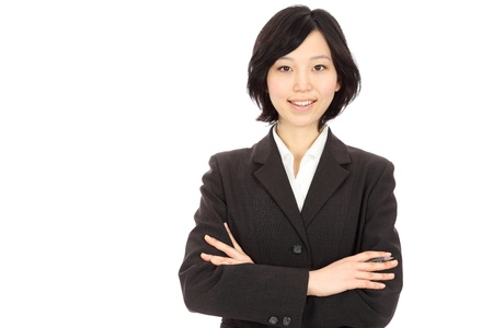 Beautiful Young Asian women link arms in white background