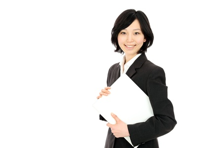 Beautiful young japanese women with a file in white background photo
