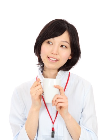Young Asian businesswoman to rest in white background photo