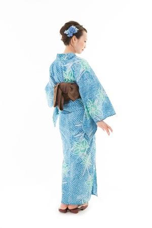 japanese kimono: Asian kimono woman with white background