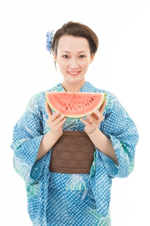 Beautiful asian kimono with watermelon photo