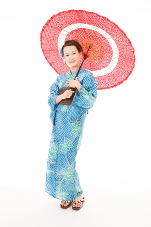 Japanese kimono woman with red traditional umbrella photo
