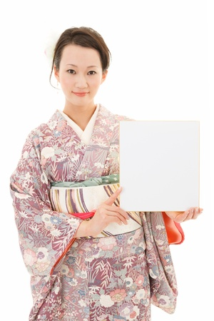 Asian kimono woman in white background photo