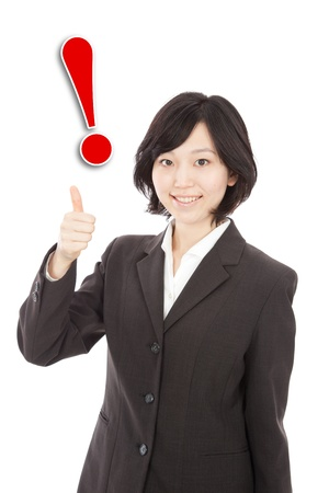 Asian woman with exclamation mark Stock Photo - 19406217
