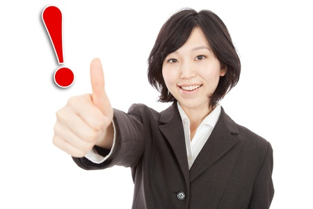 Asian woman with exclamation mark Stock Photo - 19406215