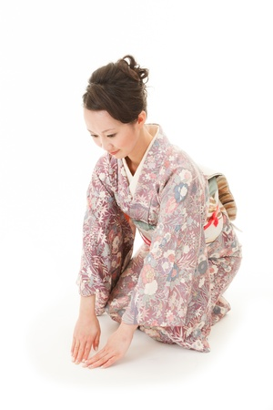 japanese kimono: Beautiful japanese kimono woman sit in white background