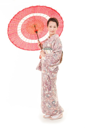 japanese kimono: Beautiful japanese kimono woman in white background Stock Photo