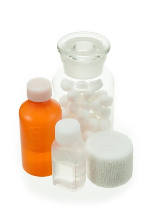 antiseptic: Bandage and cotton wool and antiseptic solution