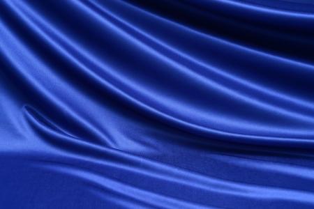 青いサテンの繊維 写真素材
