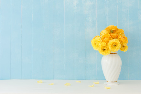 Blue background of Ranunculus flowers Stock Photo