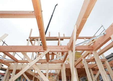 Japanese new house under construction image material Stockfoto