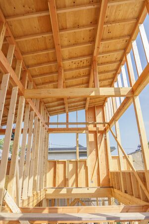 Japanese new house under construction image material 写真素材