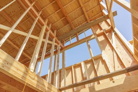 Japanese new house under construction image material Stock Photo
