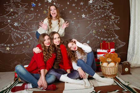 close portrait: Christmas celebration. Friends with  Gifts   New Year party