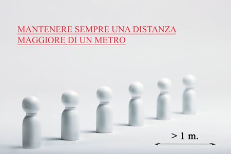 Image with italian writing, translation - always keep a distance greater than one meter. Preventive measures. Steps to protect yourself. Social distancing. People with distance measure.
