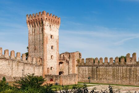 View on a medieval tower of the Carrarese Castle of Este.
