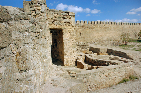Ruins of ancient buildings on the territory of the ackerman fortress. Archaeological excavations.  Belgorod Dnestrovsky, Odessa region, Ukraine