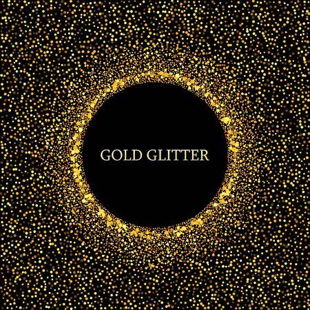 Fondo de vector brillo dorado con espacio de copia. Círculo de glamour de polvo de estrellas doradas. Ilustración de vector
