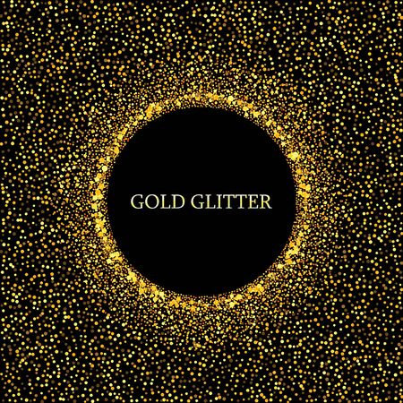 Vector golden glitter background with copy space. Golden star dust glam circle. Vektorové ilustrace