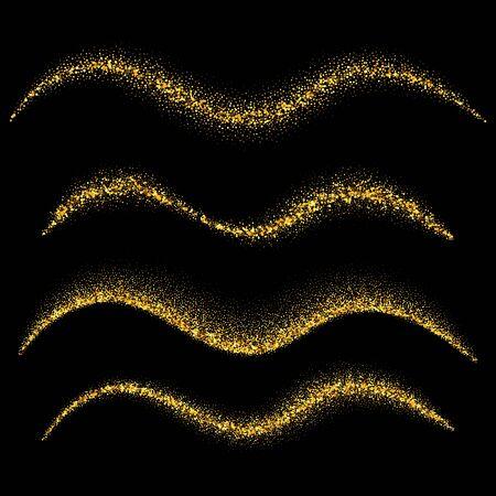 Set di onde d'oro. Particelle scintillanti di polvere di stelle scintillanti d'oro. Illustrazione vettoriale Vettoriali