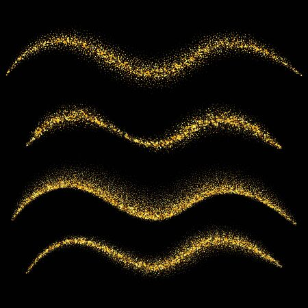 Set of gold waves. Gold glittering star dust trail sparkling particles. Vector illustration Vetores