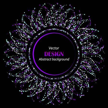 Gold glitter swirl, blue dust spiral confetti elements. frame or border background vector illustration. flying circle Sparkle dots, round tinsel elements celebration graphic design. Ilustração