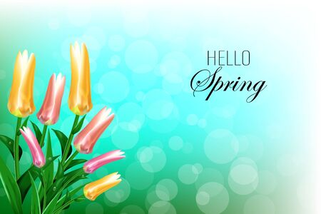Hello Spring hand Lettering with tulip flower. Vector illustration Banque d'images - 140622210