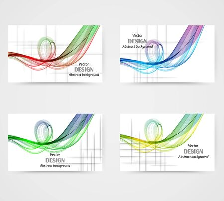Set of banners, abstract backgrounds of rainbow waves in the form of circles with a shadow. Design element eps10
