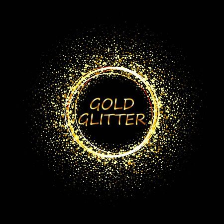 Vector golden glitter background with copy space. Golden star dust glam circle. Иллюстрация