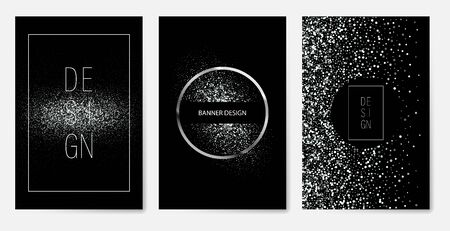 Vector banners and cards silver sparkles on black background. Banners voucher, store, present, shopping, sale, web, card, vip, exclusive certificate luxury privilege