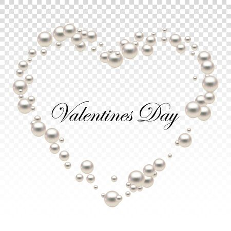 Heart shape frame painting isolated on transparent background. Pearl chains. Realistic white pearls. Beautiful natural heart shaped jewelry. Frame thread of pearls. Pearl necklace. Vector