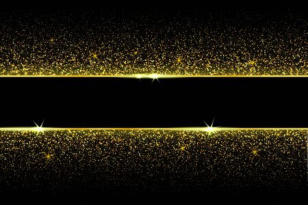 vector golden frame with confetti glitter and shiny sparkle effect. black background for new year black friday Christmas banner, cover, greeting card and decoration celebration. 矢量图像