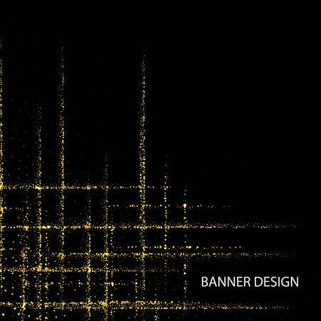 Gold glitter texture on black background. Golden explosion of confetti. Design element. Vector illustration Ilustrace