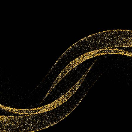 Gold glittering stars dust trail sparkling particles on black background. Space comet tail. Vector illustration.