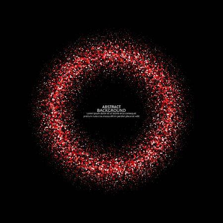 Red shining glitter vector star dust frame eps10 Illustration