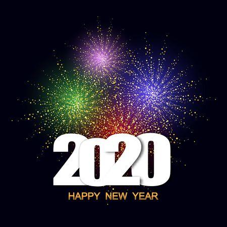 Frohes neues Jahr 2020 Festival mit buntem Feuerwerk Hintergrund.Grußkarte und Partyplakat.Feier und fröhlicher Urlaub. eps10