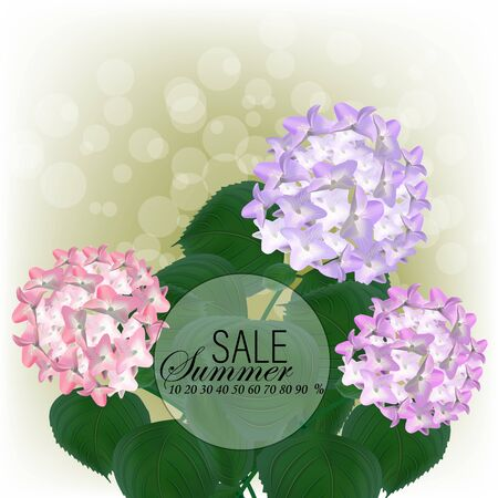 Beautiful purple flower of hydrangea. Wedding Card and engagement announcement. Invitation card template with orange blooming hydrangea over gray background. Vector illustration. eps10 sale Foto de archivo - 143303599