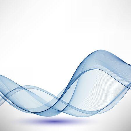 Blue horizontal lines. Transparent vector wave background. Abstract design element. Vetores