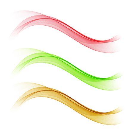 Vector set of gradient colored waves, design elements.