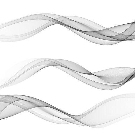 Set of horizontal waves, grey lines on white background
